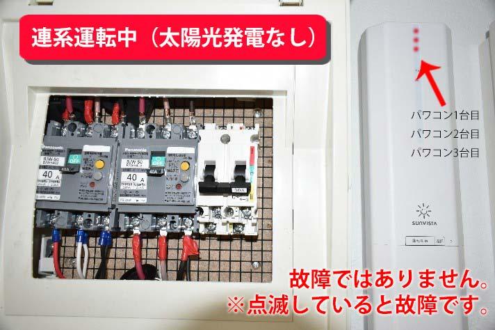 ランプ点灯イメージ 連系運転中(夜など太陽光発電なし):赤色